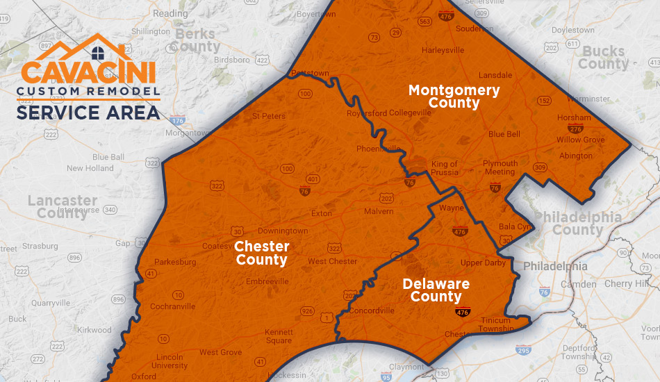 Cavacini Custom Remodel Map of Serving Delaware County, Montgomery County, and Chester County